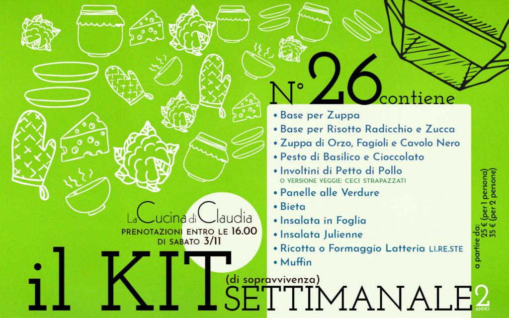 Kit settimanale num. 26 2018 La Cucina di Claudia Pavia di Udine