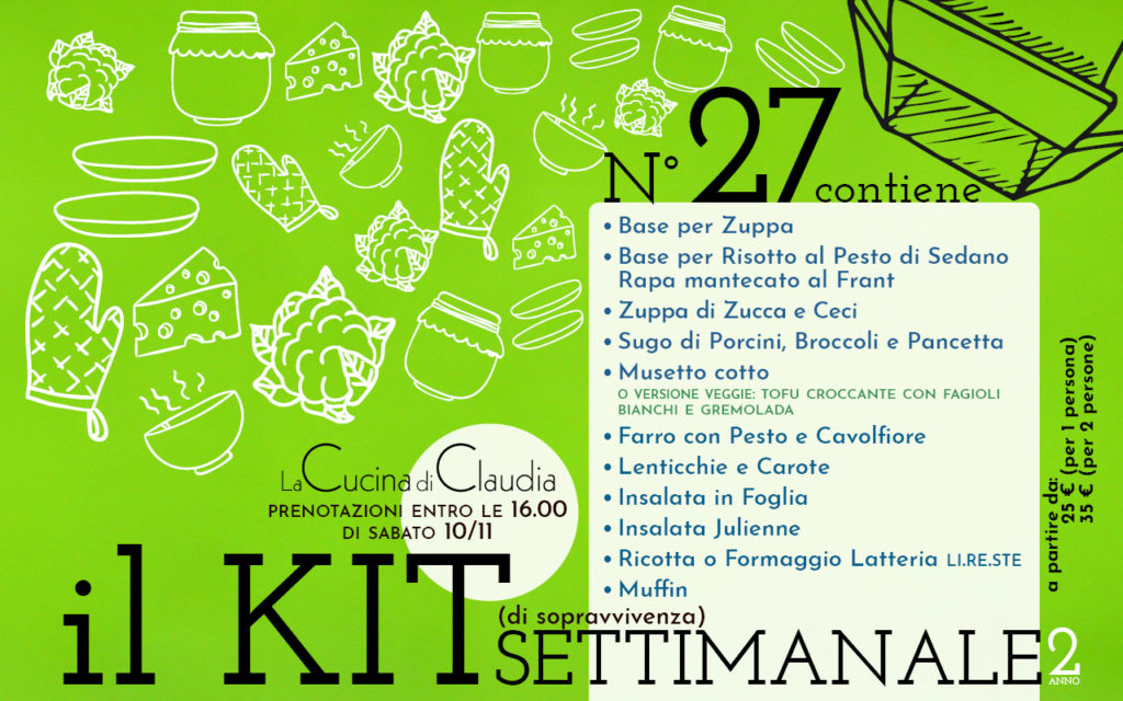 Kit settimanale num. 27 2018 La Cucina di Claudia Pavia di Udine