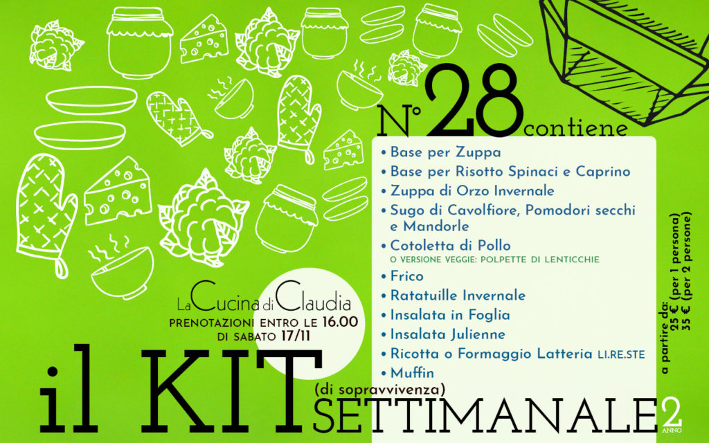 Kit settimanale num. 28 2018 La Cucina di Claudia Pavia di Udine