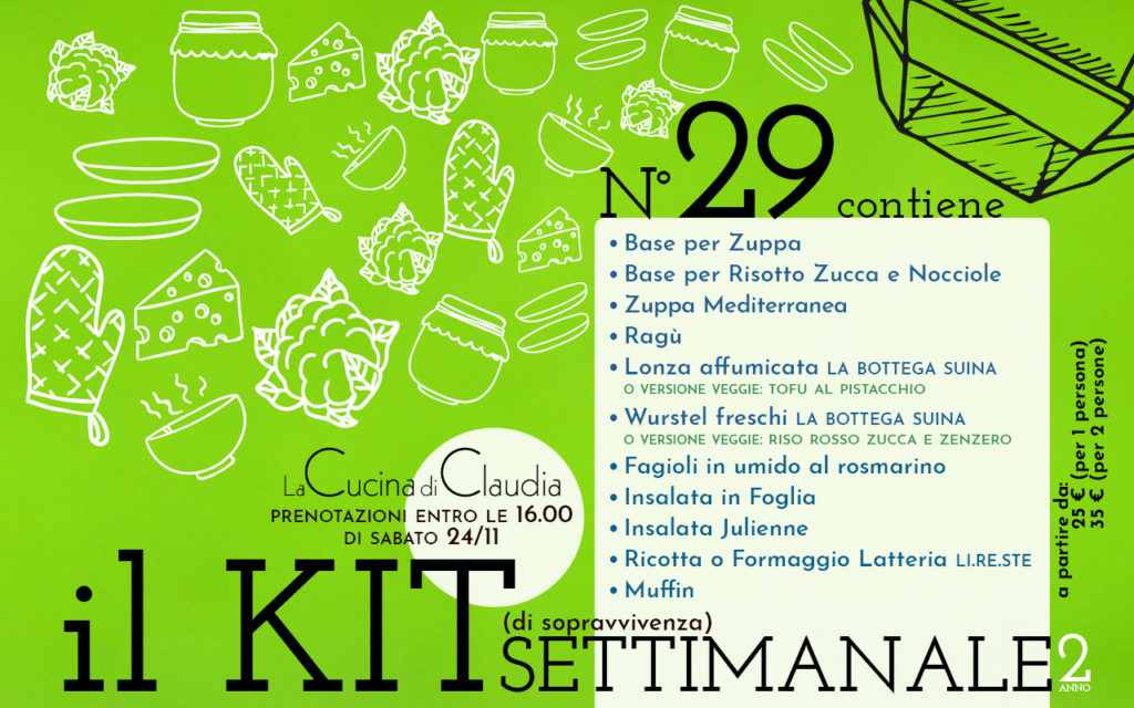 Kit settimanale num. 29 2018 La Cucina di Claudia Pavia di Udine