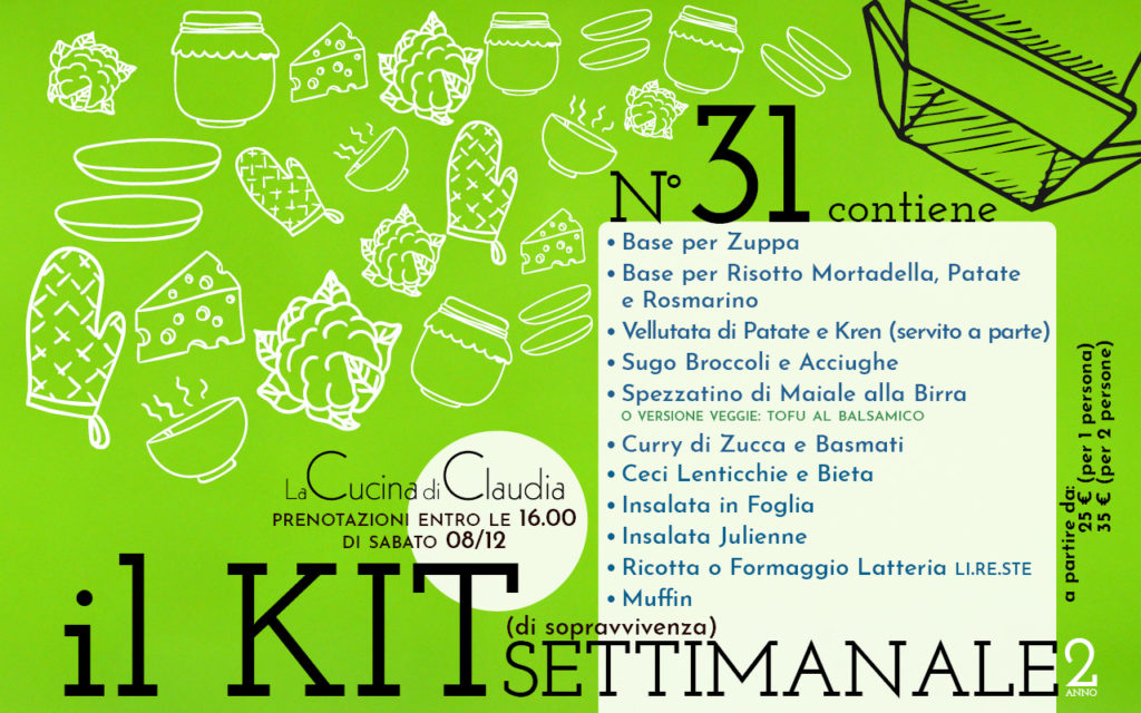 Kit settimanale num. 31 2018 La Cucina di Claudia Pavia di Udine